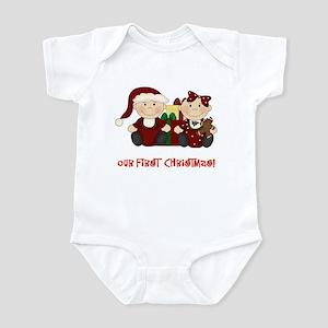 Twin Boy and Girl 1st Christmas Infant Bodysuit