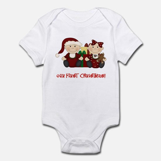 Twin Boy and Girl 1st Christmas Infant Bodysuit