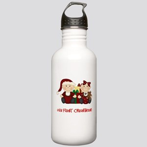 Twin Boy and Girl 1st Christmas Stainless Water Bo
