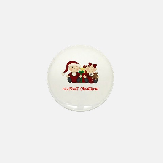Twin Boy and Girl 1st Christmas Mini Button