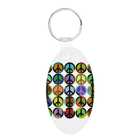 Cool Peace Signs Aluminum Oval Keychain