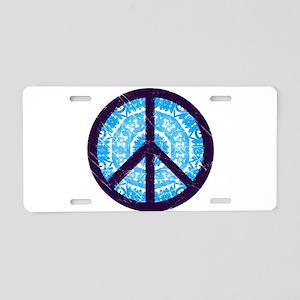 Tie-dye Peace Sign Aluminum License Plate