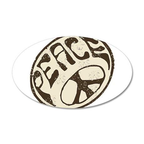 Retro Vintage Peace Sign 38.5 x 24.5 Oval Wall Pee