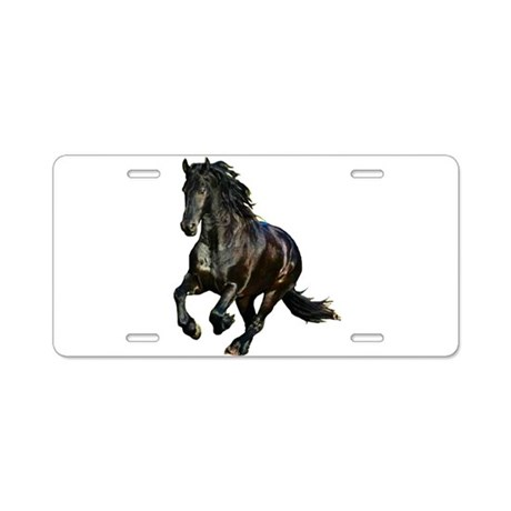 Black Stallion Horse Aluminum License Plate