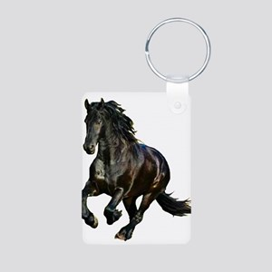 Black Stallion Horse Aluminum Photo Keychain