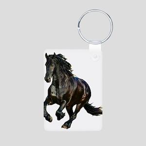 Black Stallion Horse Aluminum Photo Keychain