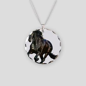 Black Stallion Horse Necklace Circle Charm