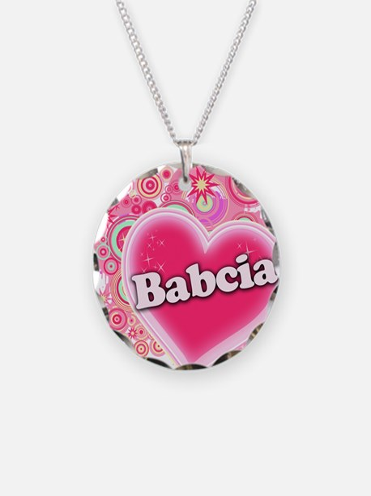 Babcia Heart Art Necklace Circle Charm