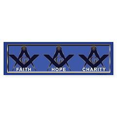 Masonic Faith, Hope, Charity Bumper Bumper Sticker