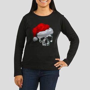 SANTA SKULL Women's Long Sleeve Dark T-Shirt