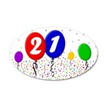 21st Birthday 38.5 x 24.5 Oval Wall Peel