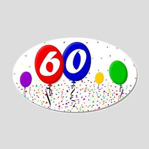 60th Birthday 22x14 Oval Wall Peel