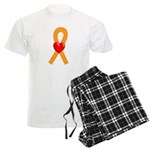 Orange Heart Ribbon Men's Light Pajamas