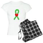 Lime Ribbon Heart Women's Light Pajamas