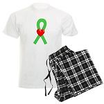 Lime Ribbon Heart Men's Light Pajamas