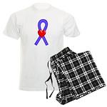 Periwinkle Heart Ribbon Men's Light Pajamas
