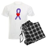 Violet Ribbon Heart Men's Light Pajamas
