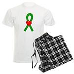 Green Ribbon Heart Men's Light Pajamas