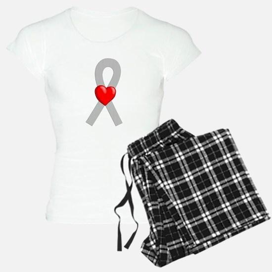 Gray Ribbon Heart Pajamas