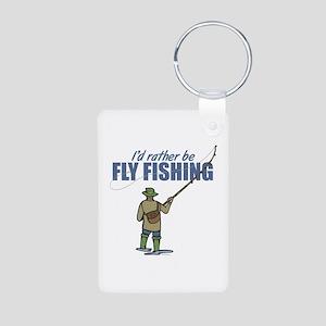 Fly Fishing Aluminum Photo Keychain