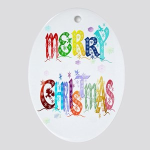 Colorful Merry Christmas Ornament (Oval)