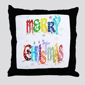 Colorful Merry Christmas Throw Pillow
