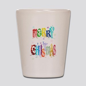 Colorful Merry Christmas Shot Glass