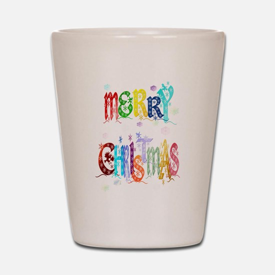 Colorful Merry Christmas Shot Glass