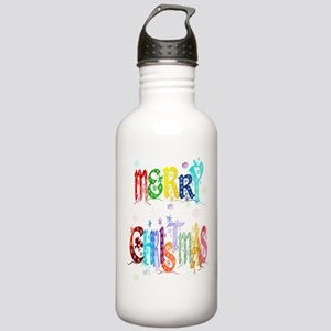 Colorful Merry Christmas Stainless Water Bottle 1.