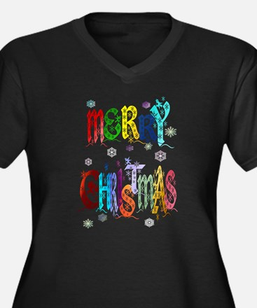 Colorful Merry Christmas Women's Plus Size V-Neck
