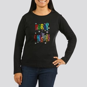 Colorful Merry Christmas Women's Long Sleeve Dark