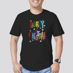 Colorful Merry Christmas Men's Fitted T-Shirt (dar