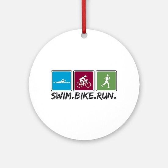 Swim Bike Run Ornament (Round)