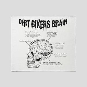 Dirt Bikers Brain Throw Blanket