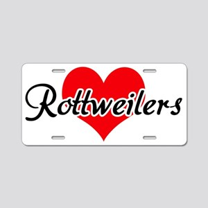 Love Rottweilers Aluminum License Plate