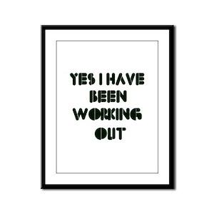 Funny gym designs Framed Panel Print