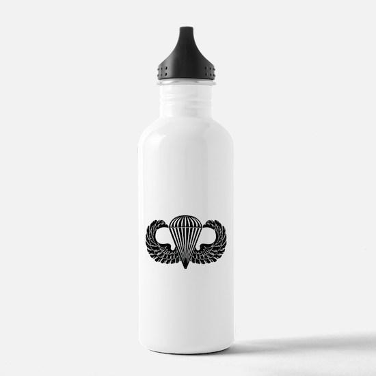 Parachutist -- B-W Water Bottle