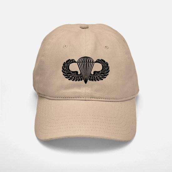 Parachutist -- B-W Baseball Baseball Cap