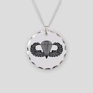Parachutist -- B-W Necklace Circle Charm