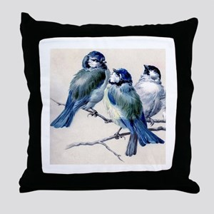 Winter Bluebirds Throw Pillow