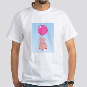 Cute Flying Pig White T-Shirt