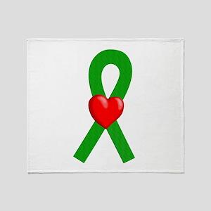 Green Ribbon Heart Throw Blanket