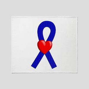 Blue Ribbon Heart Throw Blanket