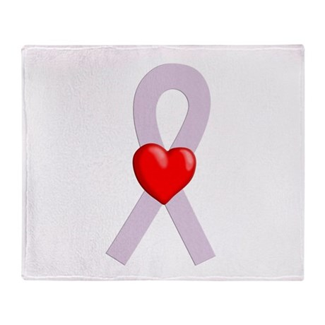Orchid Ribbon Heart Throw Blanket