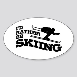 I'd Rather be Skiing Sticker (Oval)