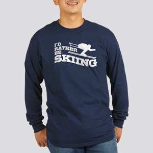 I'd Rather Be Skiing Long Sleeve Dark T-Shirt