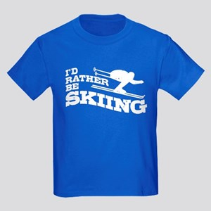 I'd Rather Be Skiing Kids Dark T-Shirt