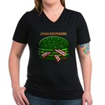 Jingle Burger! Women's V-Neck Dark T-Shirt