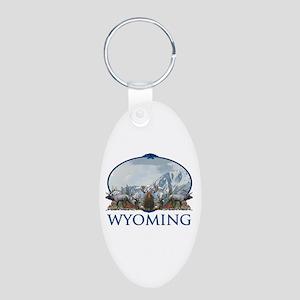 Wyoming Aluminum Oval Keychain