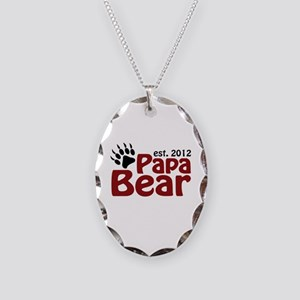Papa Bear Claw Est 2012 Necklace Oval Charm